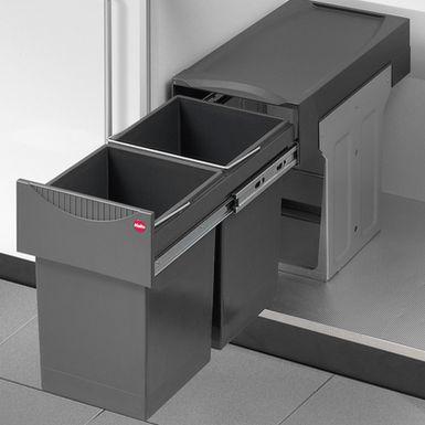 Affaldssystem med låg, 2 x 15 liter spande