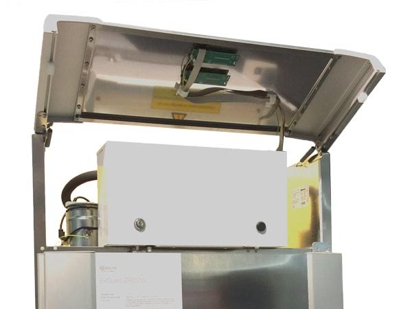 EX sikring til køleskab. Dampe suges ud før skabet åbnes.