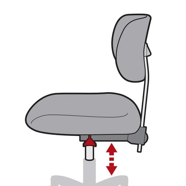 Indstilling af sæde på Studio stol