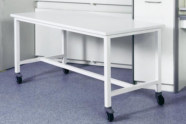 Stort rullebord - hvidlakeret stål